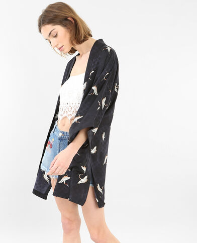 Veste de kimono satinée bleu foncé