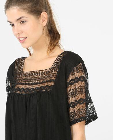 T-shirt avec dentelle noir
