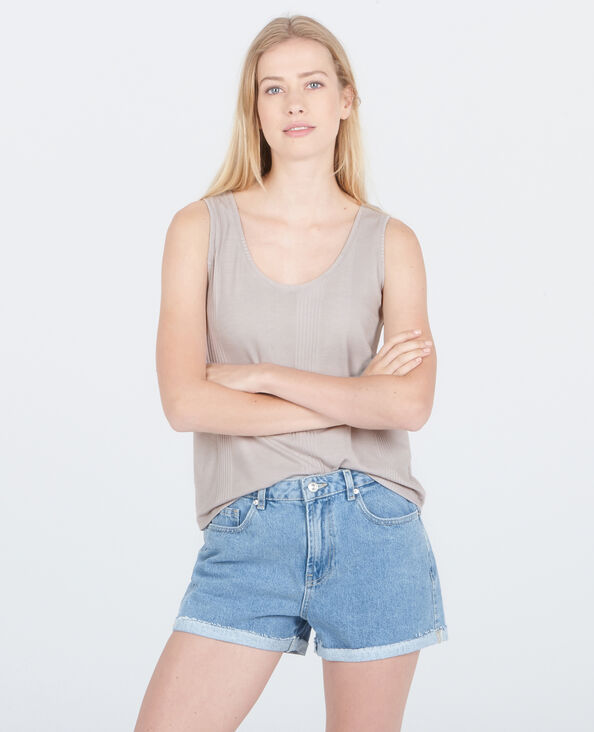Débardeur homewear côtelé gris perle