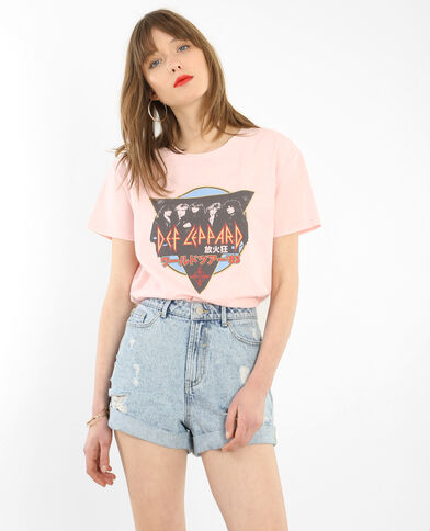 T-shirt licence Def Leppard rosa