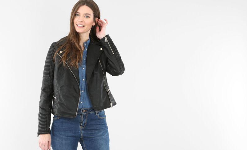 Jacke im Motorradfahrer-Stil Schwarz