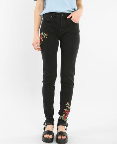 Slim-Jeans mit Stickerei Schwarz
