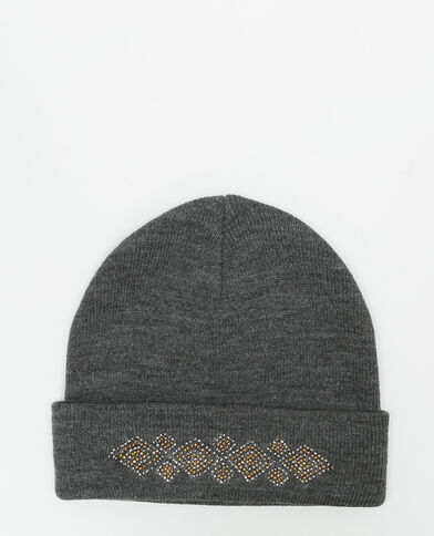 Mütze mit Schmuck-Applikation Grau
