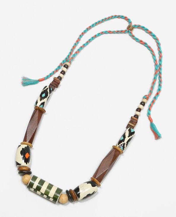 Collier perles en bois peint brun