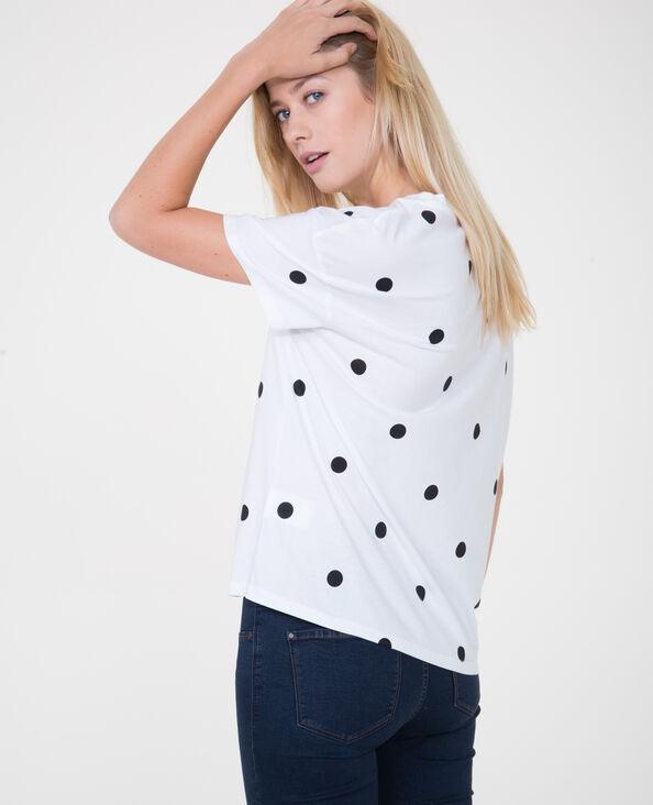 T-Shirt mit Punkten Naturweiß