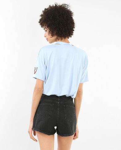 T-shirt col choker bleu ciel
