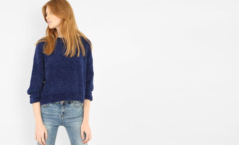 Pullover aus Chenillegarn Dunkelblau