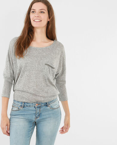 T-shirt strass gris chiné