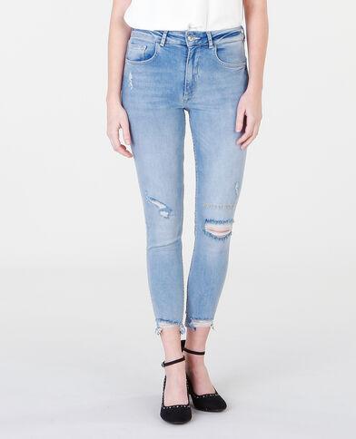 Jeans skinny con scritta blu