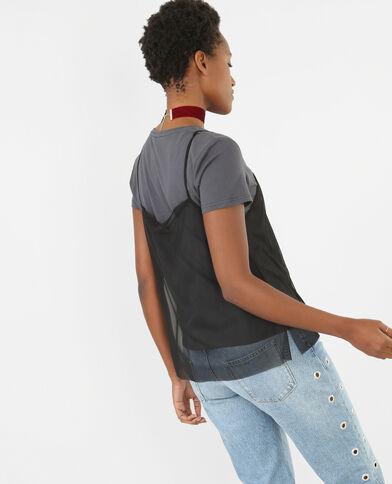 T-shirt 2 in 1 nero