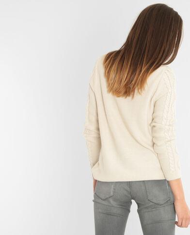 Pullover mit Zopfmuster Altweiß