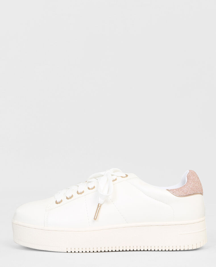 Zapatillas con plataforma de glitter blanco