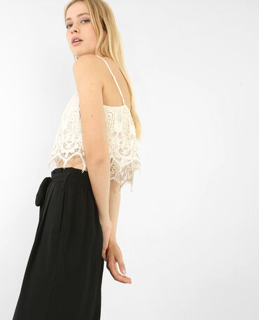 Cropped top en crochet blanc cassé
