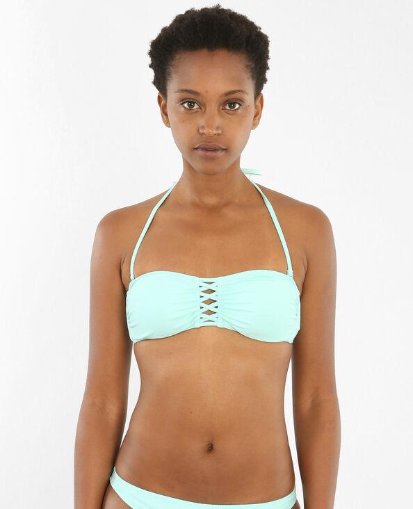 Bandeau-Bikinioberteil mit Querbändern Wassergrün
