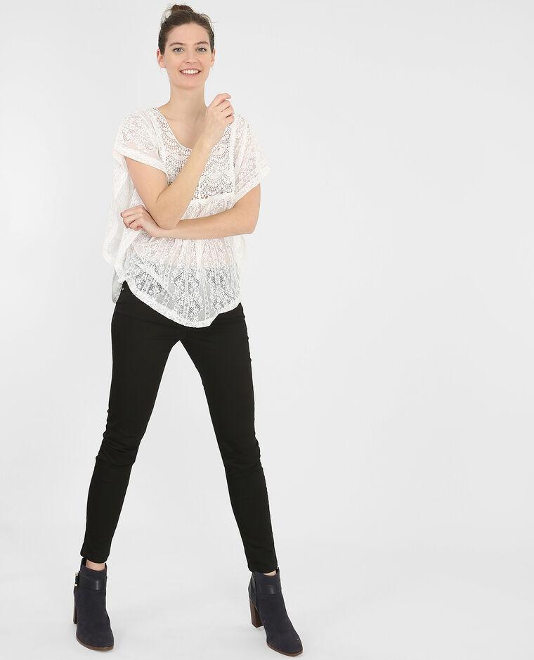 T-shirt dentelle blanc cassé