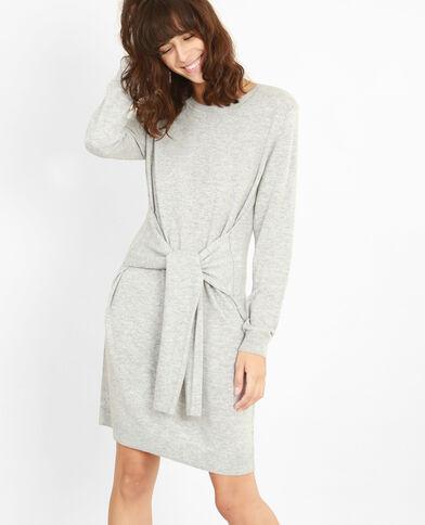 Pulloverkleid mit Gürtel Grau meliert