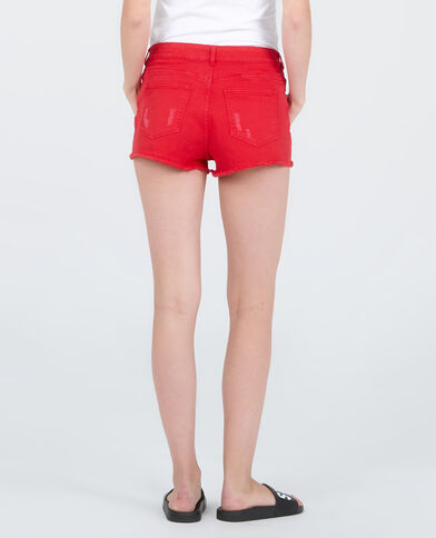 Jeansshort met destroyed look Rood