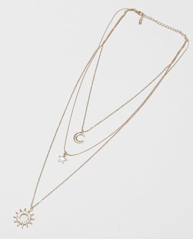 Dreireihige Halskette mit Mond, Stern und Sonne Gold
