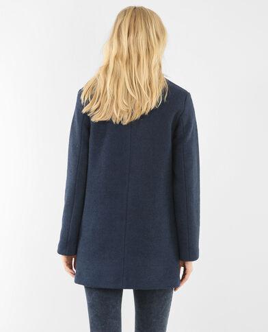 Lange blazer in wollen stof marineblauw