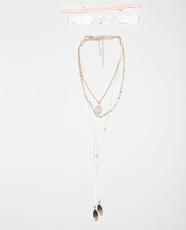 Set van 5 halskettingen roze
