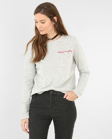 Besticktes Sweatshirt Grau meliert