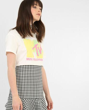 T-shirt motivo rétro bianco