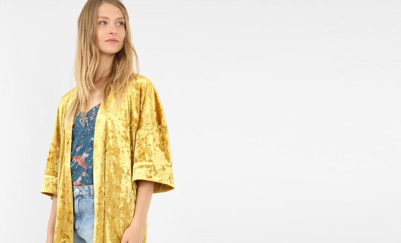 Giacca kimono effetto velluto giallo mostarda