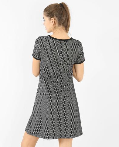 Trapez-Kleid aus strukturiertem Material Schwarz