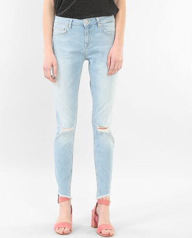 Raw cut skinny jeans denimblauw