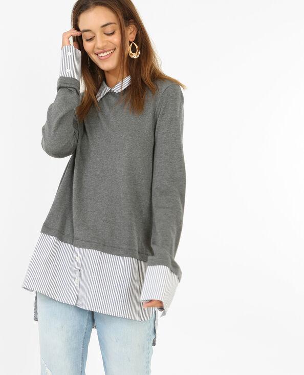 Hemd-Pullover Grau meliert