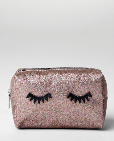 Make-uptasje met glitter eyes goudkleurig