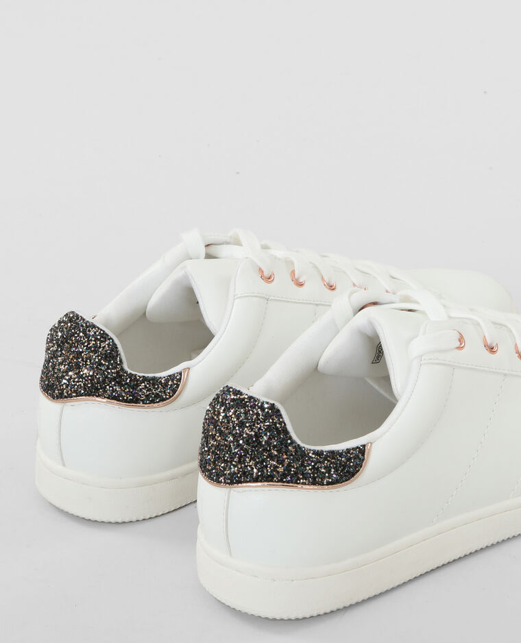 Baskets dos glitter blanc