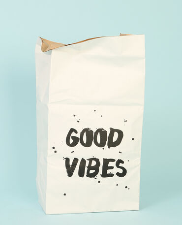 "Grand paper bag ""good vibes"" écru"