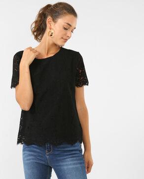 T-shirt en dentelle noir