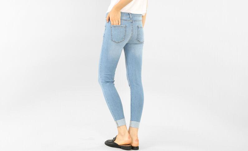 Skinny destroyed jeans met omslag Lichtblauw