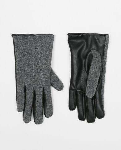 Handschuhe aus zweierlei Material Schwarz