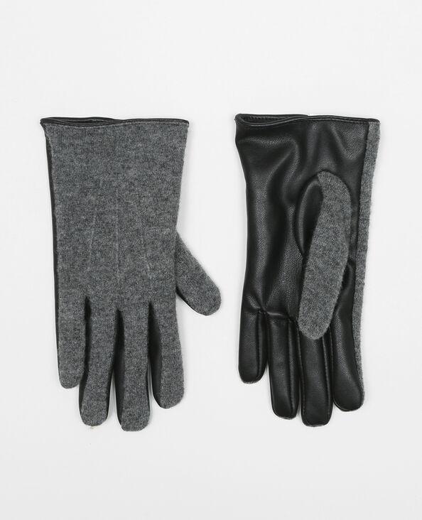 Gants bi-matières noir