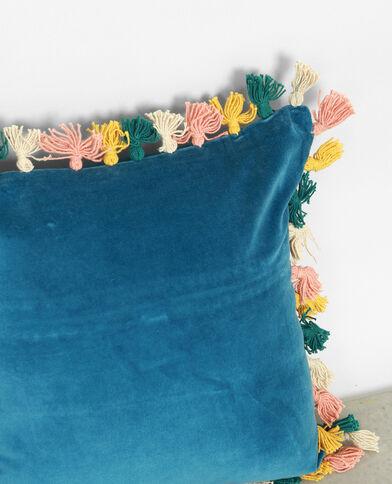 Kussenhoes met pompons blauw