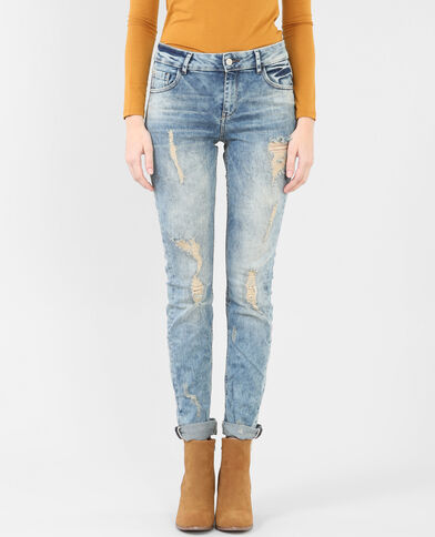 Jeans boyfit destroy blu