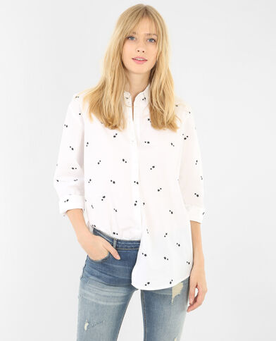 Geborduurde blouse met sterrenprint wit