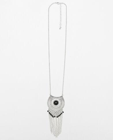 Lange Halskette im Ethno-Stil Silberig