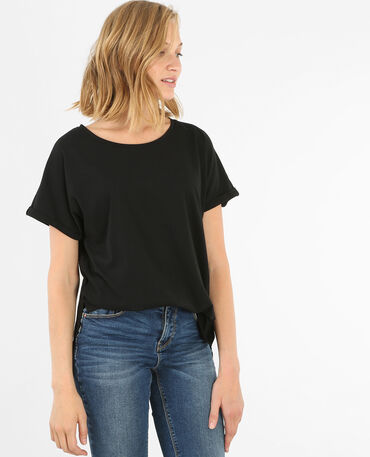 T-shirt basique fendu noir