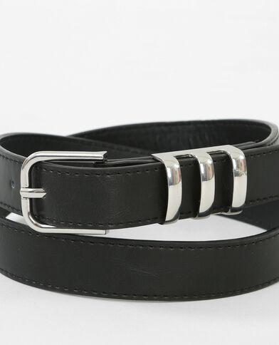 Cinturón de piel sintética y metal negro
