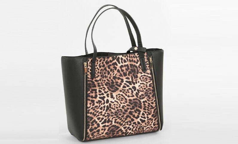 Große Tasche mit Leoparden-Motiv Schwarz