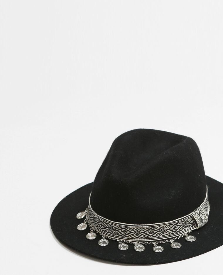 Chapeau fedora galon ethnique noir