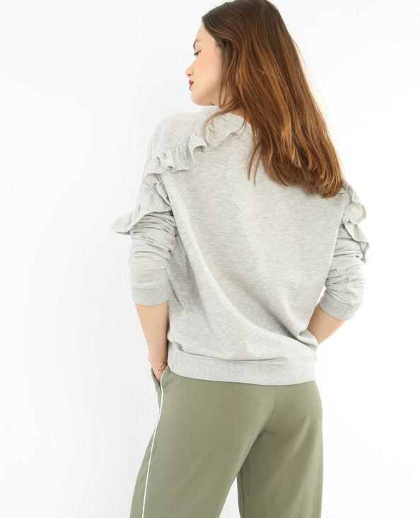 Sweater met ruche gemêleerd grijs