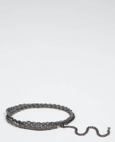 Cinturón con bisutería trenzado gris carbón