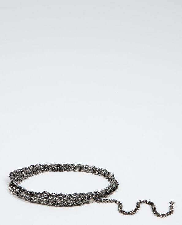 Cintura gioiello intrecciata grigio antracite