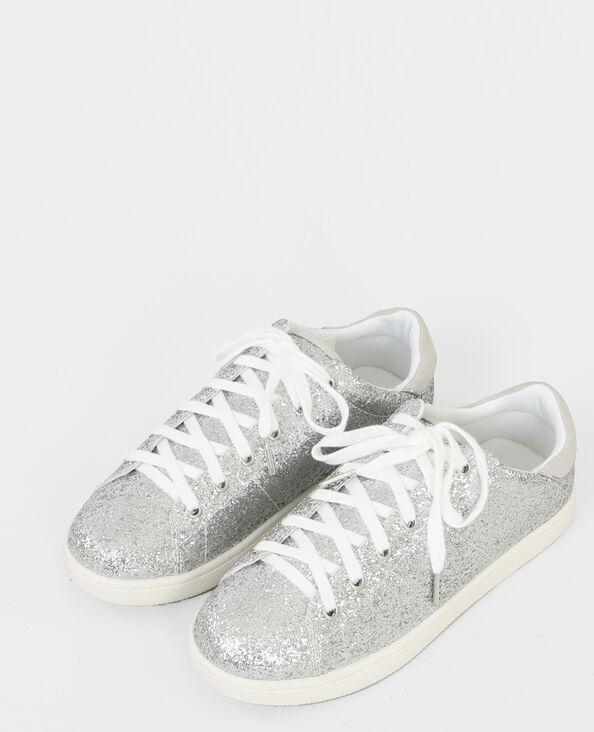 Scarpe da basket con glitter grigio paillettato