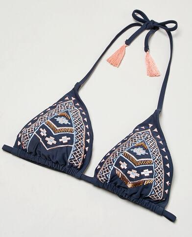 Triangel-Bikinioberteil mit Ethno-Motiv und Troddeln Marineblau